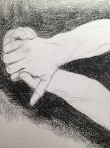 sketchbook hands clasped