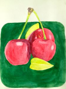 water colour cherries